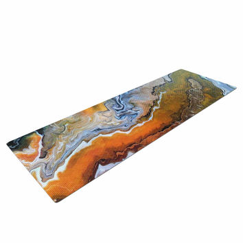 "Carol Schiff ""Geologic Veins"" Brown Orange Yoga Mat"