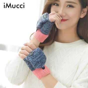 iMucci Fashion Winter Women Clamshell Acrylic Fingerless Gloves Multifunctional Cute Warm Patchwork Mittens for Students femme