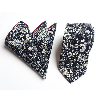 Mantieqingway Floral Pocket Square Tie Sets Vintage Cotton Printed Handkerchiefs for Wedding Business Suits Hankies Neck Tie