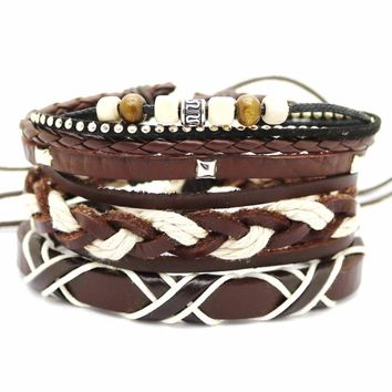 Men's Set of 3PCS Brown Faux Leather Layering Bracelet with Tribal Charms, Beads, Braids and More