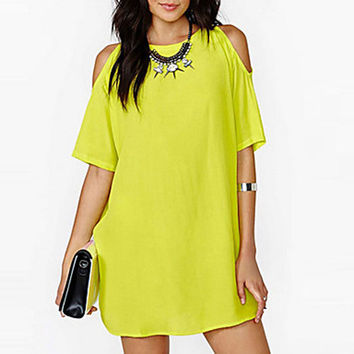 Women's White/Black/Yellow Round Neck Dress