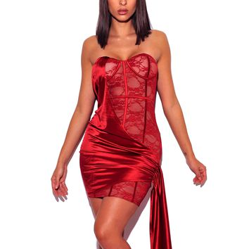 Lily Red Strapless Lace Satin Drape Dress