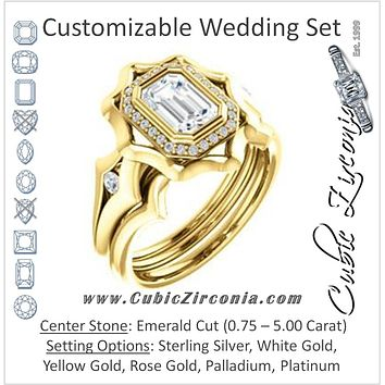 CZ Wedding Set, featuring The Jeanne engagement ring (Customizable Bezel-set Emerald Cut with Halo & Oversized Floral Design)