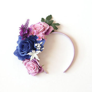 rose headband - wedding headpiece, garden party, spring racing carnival hair accessory, bridal, romantic, winter blue purple.