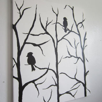 16x20 black and white bird on a tree branch acrylic painting