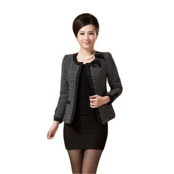 2016 Hot Sale New Fashion Spring Autumn Women Plaid Slim Short Jacket O-Neck Long Sleeve Plus Size Blazer Feminino LJ1411