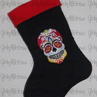 Embroidered Sugar Skull Day Of The Dead Fire Quilted Holiday Stocking