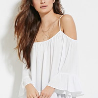 Open-Shoulder Gauze Top