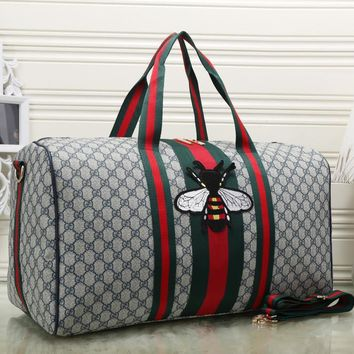 Gucci Women Fashion Leather Embroidery Luggage Travel Bags Tote Handbag-2