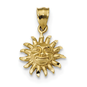 14k Satin Diamond-cut Sun Pendant K5967