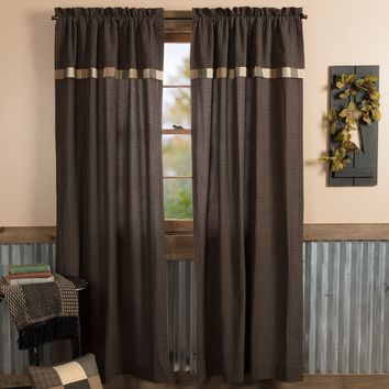 Kettle Grove Plaid Block Border Panel Curtains
