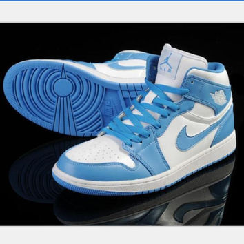 Nike  Air Jordan Retro 1 High Tops Contrast Sports shoes Blue white hook H-CSXY