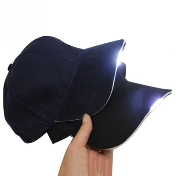 New Fashion 5 LED Lighted Glow Club Party Sports Athletic Fabric Travel Hat  Baseball Cap Night Walking Hiking Fishing Hunting