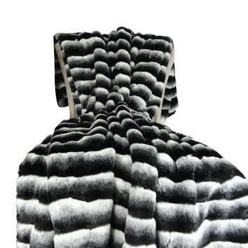 Plutus Wild Chinchilla Faux Fur Handmade Throw / Blanket