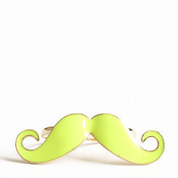 Sorry I Mustache Two-Finger Ring in Neon Yellow - $14.00 : ThreadSence.com, Your Spot For Indie Clothing & Indie Urban Culture