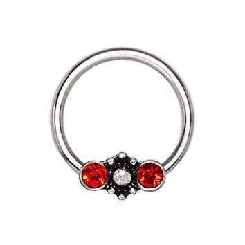 316L Stainless Steel Red Jeweled Ornate Snap-in WildKlass Captive Bead Ring/Septum Ring