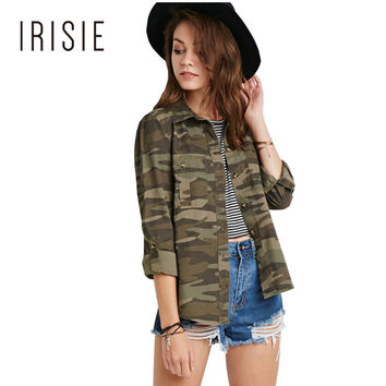 IRISIE Apparel Camo Slim Women Coats Camouflage Single Breasted Double Pockets Jackets Autumn Casual Loose Brief Outwear