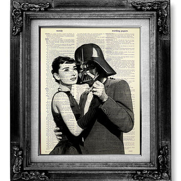 Audrey Hepburn Art Print, Home OFFICE Decor, STAR WARS Poster, Darth Vader Poster Artwork, Old Book Art, Cool Gift for Man, Impossible Movie