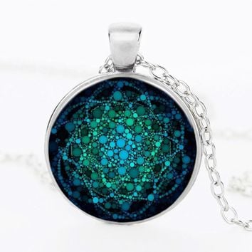 Flower of Life Glass Turquoise Glass Dome Necklace