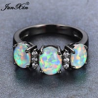 JUNXIN 2017 New Fashion White Fire Opal Engagement Ring Vintage Black Gold Wedding Rings For Men And Women New Year Gifts