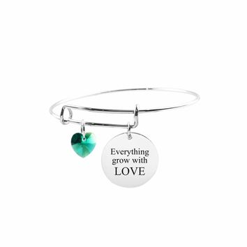 Adjustable Bangle With Crystals From Swarovski - Everything Grows