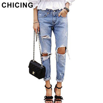 CHICING Distressed Jeans Women 2016 Vintage BoyFriend Style Spring Summer Casual Ripped Hole Roll-Up Pencil Denim Pants B65975