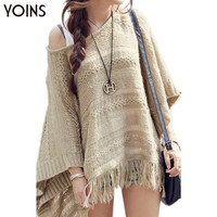 YOINS New Arrival Women Hollow Out Batwing Poncho Pullover Loose Cloak Knitted Jumper Sweater with Tassel Hem