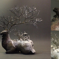 Snowy Elk- original OOAK sculpture