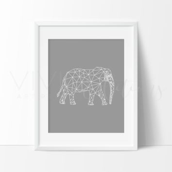Gray Geometric Poly Elephant