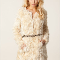 Off White Faux Fur Collarless Long Coat