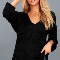 Vidal Black Oversized Knit Sweater