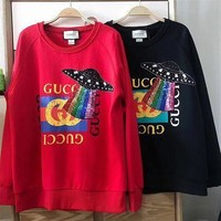 GUCCI Fashion Round Neck Letters Printed Loose Long Sleeve Top Sweater Pullover
