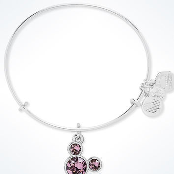 Disney Mickey Mouse Birthstone Bangle by Alex and Ani June Silver Finish New