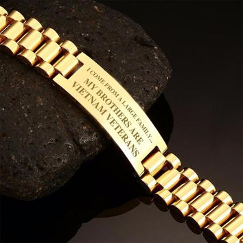 Vnox Black Gold Tone Stainless Steel Tough Man Bracelets for Soldiers Drop Shipping - MY BROTHERS ARE VIETNAM VETERANS