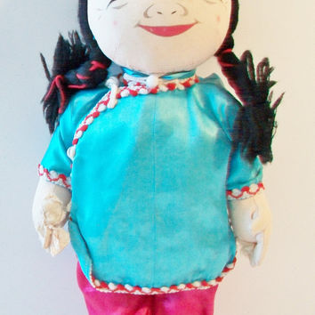 Vintage Japanese Bean Bag Cloth Doll Toy Traditional Ethnic Asian Oriental Clothes