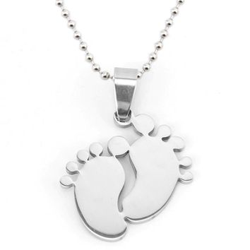 risul Stainless steel  baby foot necklaces&pendants blank dog tags high polish mom jewelry gift Baby Feet charm necklace wholesa