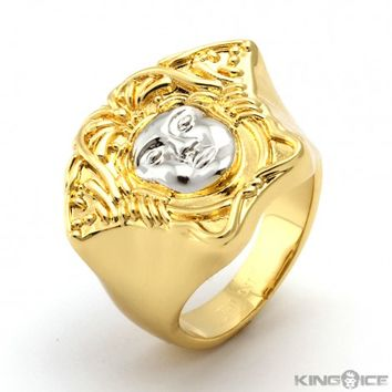 King Ice 14K Gold Medusa Ring