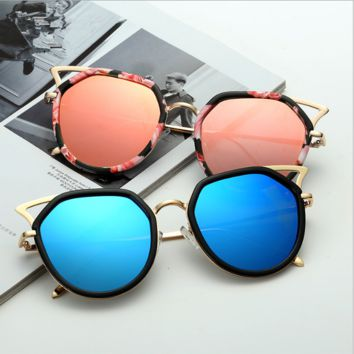 Cat eye sunglasses metal 2017 new trend outdoor glasses star with the retro sunglasses