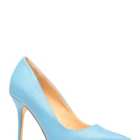 Blue Faux Leather Pointy Toe Pumps