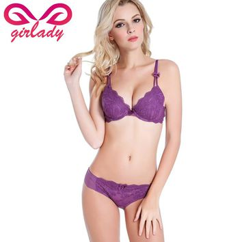 GIRLADY Women Quarter Cup Sexy Bra Panties Set Female French Vintage Floral Lace Bra Set Deep V Padded Push-up Bra Brief Set