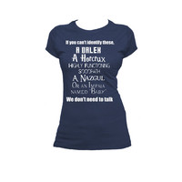 Supernatural, Dr. Who, Sherlock, Harry Potter, LOTR Fandom Ladies Tee