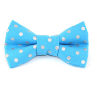 Cat or Small Dog Bow Tie - Silver Polka Dots on Bright Blue