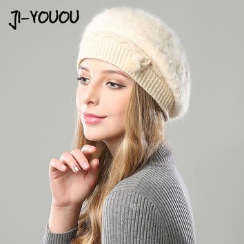 winter hats for women Double layer fur knitted hats 2017 beanie crocheted berets rabbit women's hat knitted cap mask balaclava