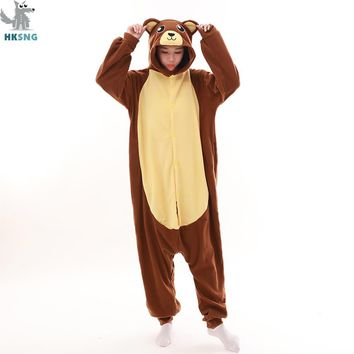 HKSNG New Adult Animal Brown Bear Pajamas Cartoon Love Bear Kigurumi Onesuits Cosplay Costumes Jumpsuits Best Gift For Women Men