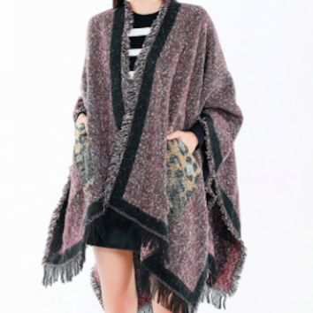 Top Quality Guarantee Oversized Leopard Print Women Winter Warm Knitted Cashmere Poncho Capes Shawl Cardigans Sweater Coat