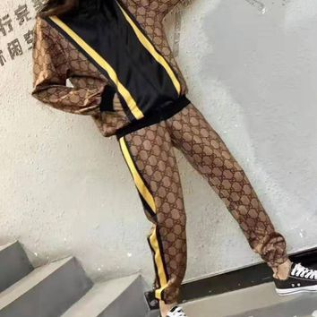 """Gucci"" Woman Leisure Fashion Letter Personality Printing Spell Color Stripe Long Sleeve Trousers Two-Piece Set Casual Wear"