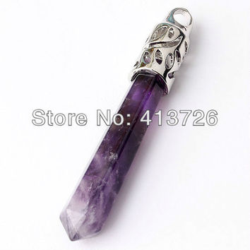 UMY Popular Silver Plated Natural Amethyst Crystal Reiki Healing Pendulum Pendant Fashion Jewelry