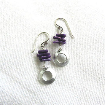 Sterling Silver Earrings, Purple Coral, Dangle Earrings, Drop Earrings, Boho, Jewelry for Women, Gift Idea, Summer Earrings, Beach