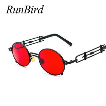 Newest Retro Steampunk Sunglasses Men Round Vintage 2018 Summer Metal Frame Black Oval Sun Glasses for Women Red Male Gift 1457R