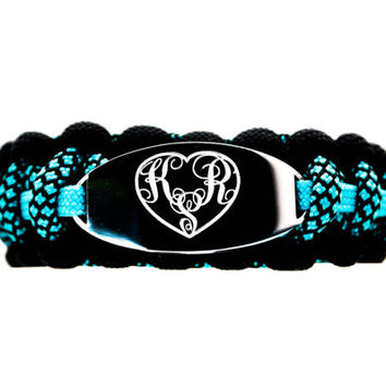 Personalized Engraved Monogramed Heart Paracord Bracelet with Stainless Steel ID Tag - Heart Shaped 3 Initial Monogram